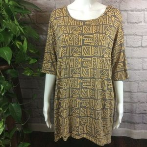 Lularoe gray & yellow hi-lo soft large stretch top